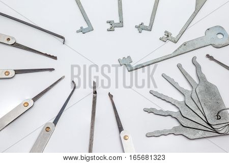 several lockpicking to open a lock on a door