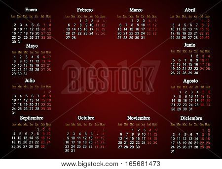 calendar for 2017 in Spanish on claret background with place for picture or advertising text