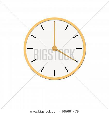 Clock icon, illustration of a flat design with long shadow.  yellow clock, no background