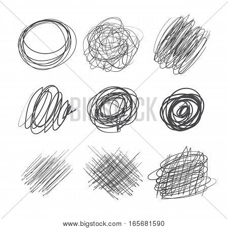 Abstract chaotic round scribbles. Pencil drawing for your design. Vector illustration. Isolated on white background