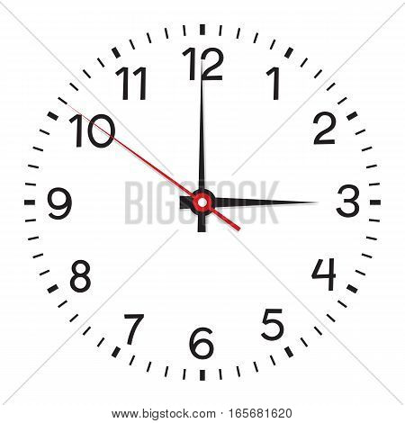 Clock face. Vector illustration. Isolated on white background