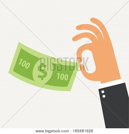 Businessman holding in his hand the hundred dollars. Flat Design. Vector illustration. Isolated on white background