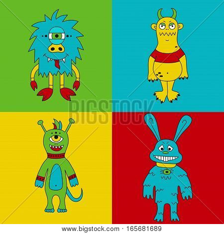 Cute colorful monsters mutants cartoon characters childish vector set