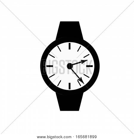 Clock icon, illustration of a flat design with long shadow.   black clock