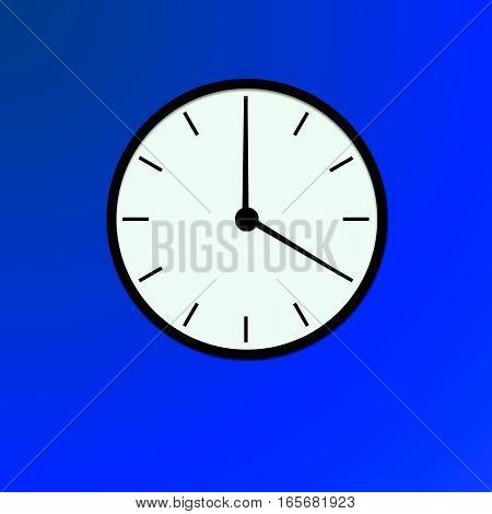 Clock icon, illustration of a flat design with long shadow.   black clock , blue background
