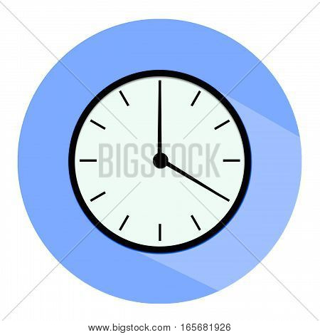 Clock icon, illustration of a flat design with long shadow.   black clock ,