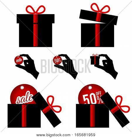 Gift Box With Summer Sale In Black And Red Color Illustration