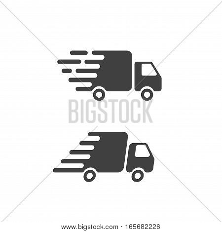 Delivery truck icon flat style symbol, fast shipping cargo van pictogram, flat black and white style, quick courier transportation isolated image