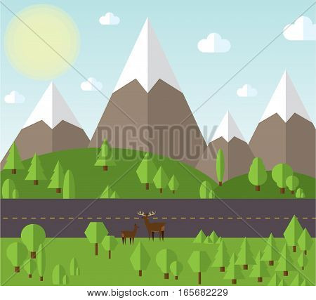 vector illustration Mountain landscape beside the road, the hills are covered with forests, clear sky with clouds and sun.