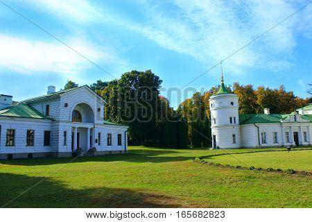 Kachanivka Chernihiv region / Ukraine. 01 October 2016: Kachanivka Palace with great architectural ensemble in the bright day. 01 October 2016 in Kachanivka Chernihiv region / Ukraine.