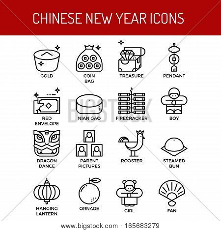 Chinese New Year Outline Icons