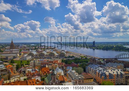 Aerial view of the center of Riga the Riga market and Tower Riga Latvia.