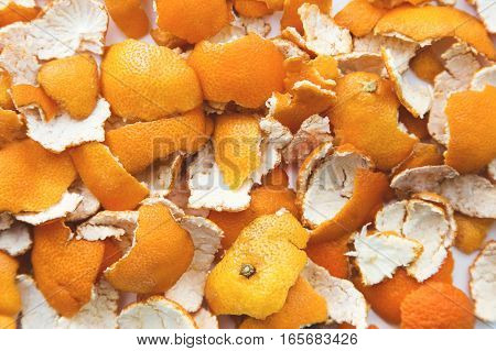 orange peel close-up on a white background