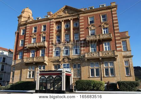 18TH JANUARY 2016,PORTSMOUTH,ENGLAND: The famous old Edwardian Queens Hotel , this luxury 74 room hotel was built in 1903 in the style of baroque brown terracotta by T.W.CUTLER