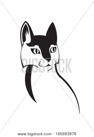 Cat outline pussycat silhouette symbol for the logo black on white background vector isolated.
