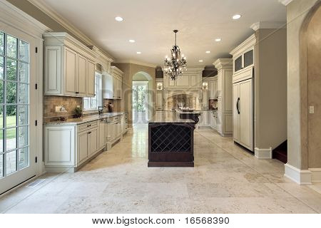 Kitchen in luxury home with double deck island