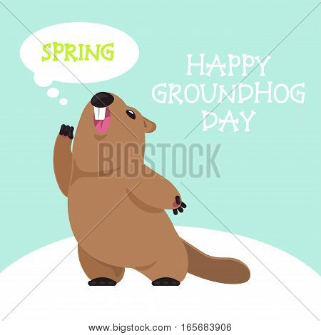 Postcard Vector Groundhog Day. Funny groundhog predicts that will soon spring