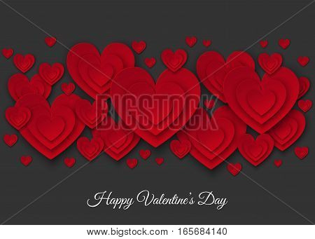 Happy Valentines day red cut paper hearts on black background. Weeding design elements. Vector illustration for party invitation flyer banners greeting postcard save the date card templates.