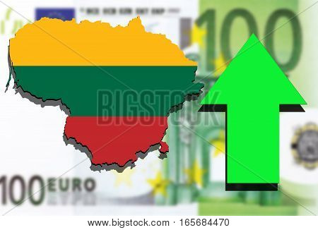 Lithuania Map On Euro Money Background And Green Arrow Rising