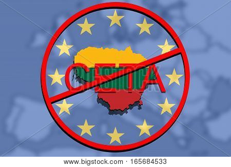 Anty Ceta - Comprehensive Economic And Trade Agreement On Euro Union Background, Lithuania Map
