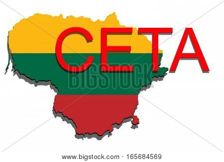 Ceta - Comprehensive Economic And Trade Agreement On White Background, Lithuania Map