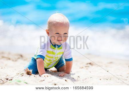 Baby Boy On Tropical Beach