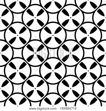 Vector monochrome seamless pattern. Simple black & white repeat geometric texture. Illustration of tapes, spools. Abstract endless background, repeating tiles. Modern design element