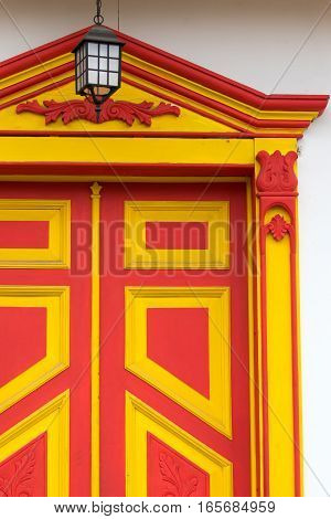 colonial style door closeup in Salento Colombia