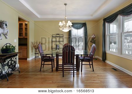 Dining room in suburban home with butler's pantry