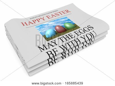 Pile of Happy Easter Wishes Newspapers With Funny Headline 3d illustration on white background