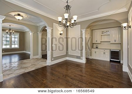 Dining room in new construction home with butler's pantry