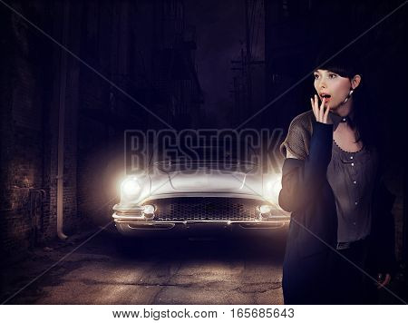 The Woman Is Afraid Of The Car At Night