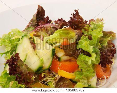 Fresh vegetable salad with orange vinaigrette with cucumber