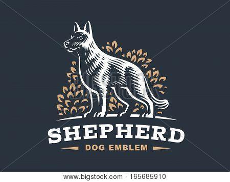 Shepherd dog logo - vector illustration, emblem design on dark background
