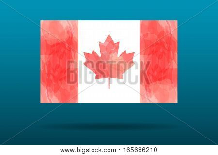 Vector flag of Canada on gradient blue background. Anniversary 150 years