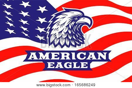 Eagle head logo - vector illustration, emblem design on american flag background