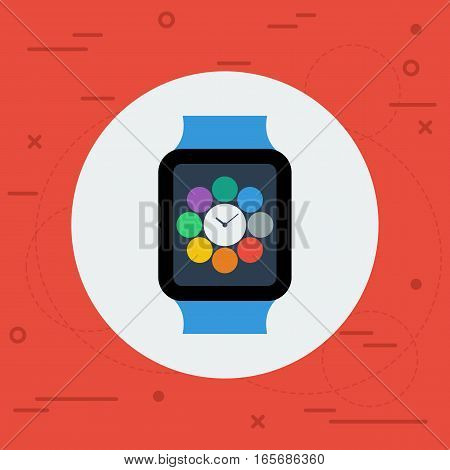 Vetor icon of smart watch on red line art background