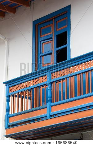 colonial colourful building architectural details in Filandia Colombia