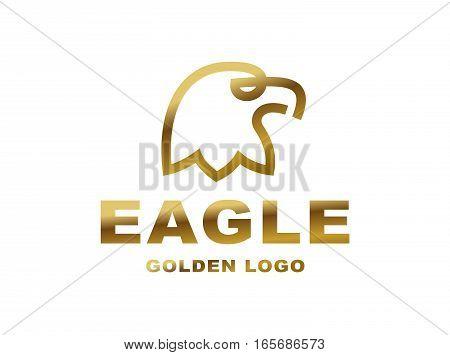 Eagle head logo - vector illustration, golden emblem design on white background