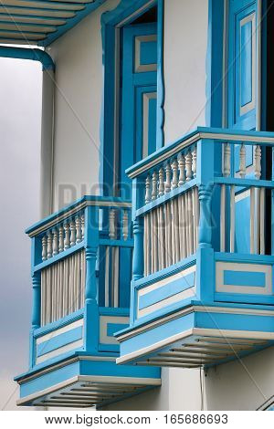 colonial style wooden balconies in Filandia Colombia