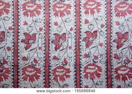handmade towel with ukrainian floral ornamental pattern
