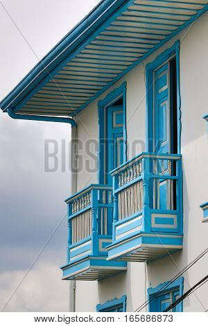 colonial style wooden balcony detail in Salento Colombia.