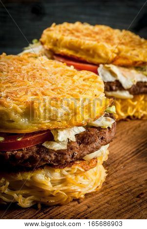 Modern Asian Dish Ramen Burger