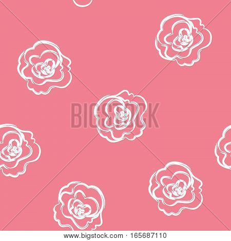 Seamless pattern with roses. It can be used for packing of gifts, tiles fabrics backgrounds. Sample for the websites. Vector illustration.
