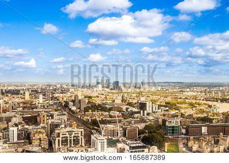 Bird's eye panoramic view of the United Kingdom cityscape from the unusual and atypical camera angle