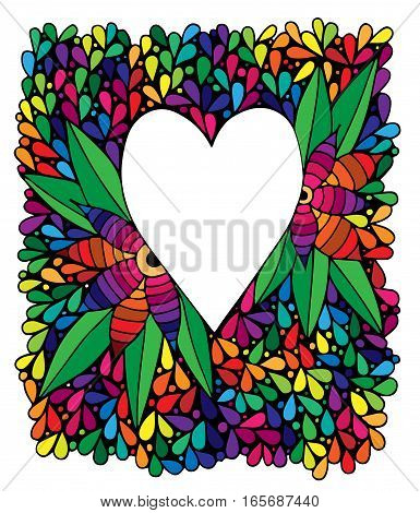 Heart with flower in abstract colorful frame. Can be used for Valentines day card invitation posters texture backgrounds placards banners.