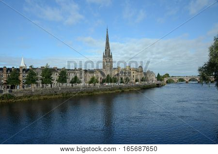 A view along the river Tay in the city of Perth