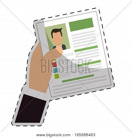 hand with curriculum vitae page over white background. human resources concept. colorful design. vector illustration