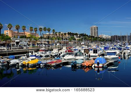 Port of Las Palmas with small boats in north Gran Canaria Canary Islands.