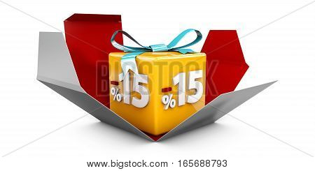 3D Illustration Red Discount 15 Percent Off And In The Gray Box.